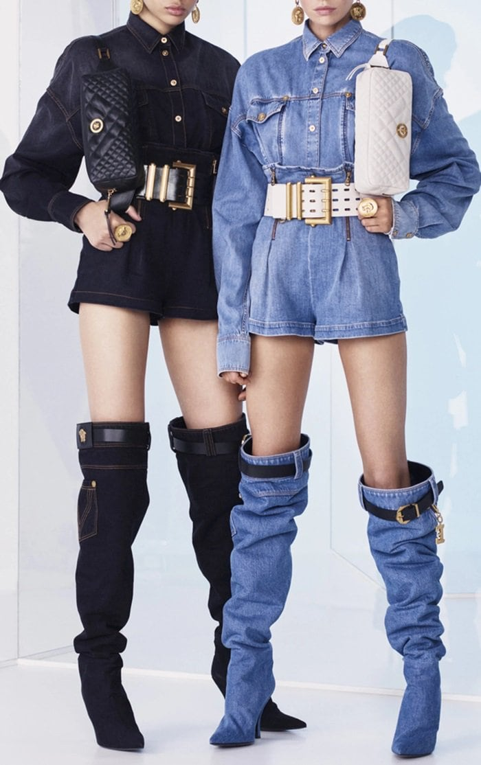 This Versace boot is rendered in denim and features a minimalist silhouette and a black belt embellished with Versace's signature gold Medusa