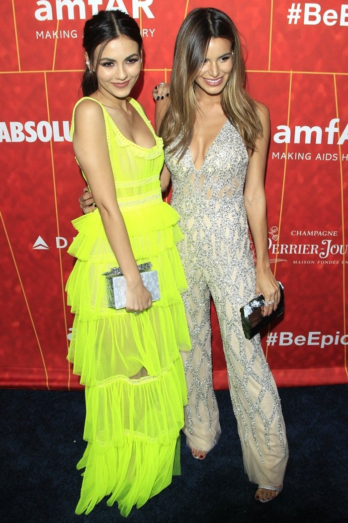 Victoria Justice and Madison Reidat the 2018 amfAR Gala at the Wallis Annenberg Center for the Performing Arts in Beverly Hills, California, on October 18, 2018
