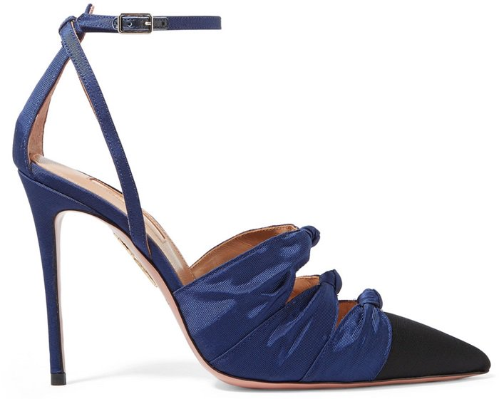 Made in Italy from lustrous faille, these 'Mondaine' pumps have three knotted bows that accentuate the sleek pointed-toe and are set on a slim 105mm heel