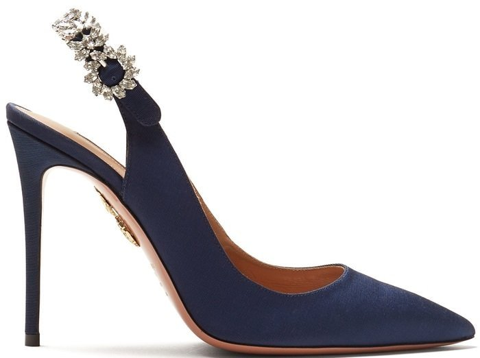 Admiral Blue Portrait of Lady 115 embellished slingback pumps
