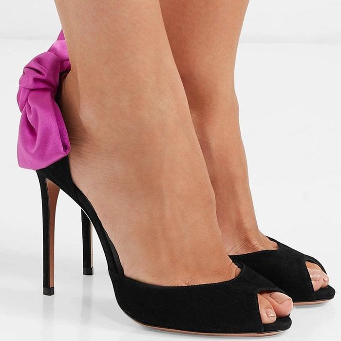 Versailles Bow-Embellished Suede Sandals