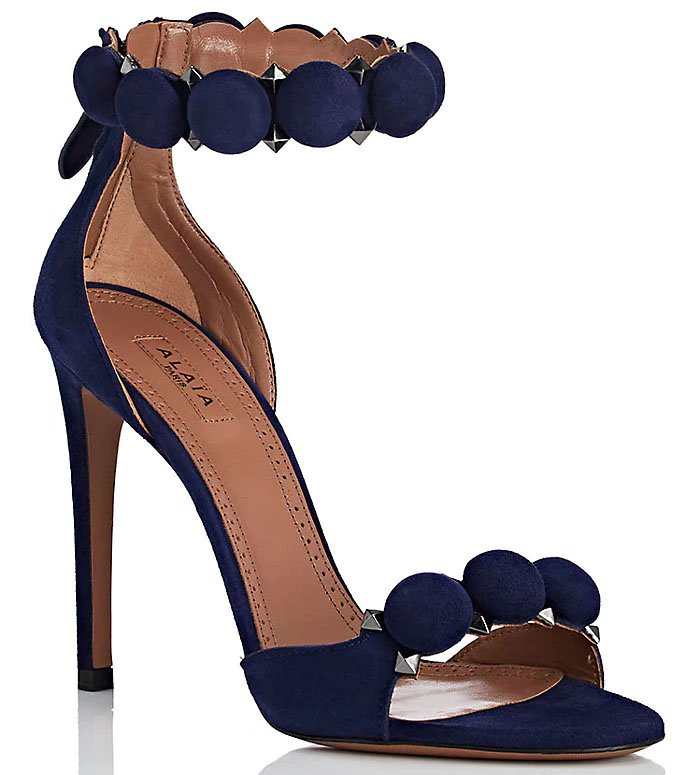Alaia 'Bombe' Sandals in Navy Suede
