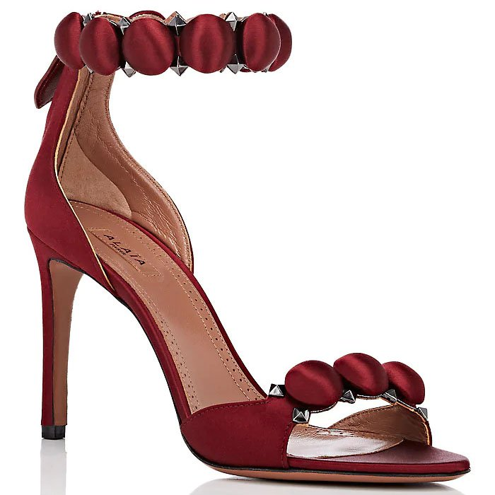 Alaia 'Bombe' Sandals in Burgundy Satin