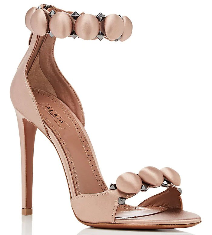 Alaia 'Bombe' Sandals in Pink Blush Satin
