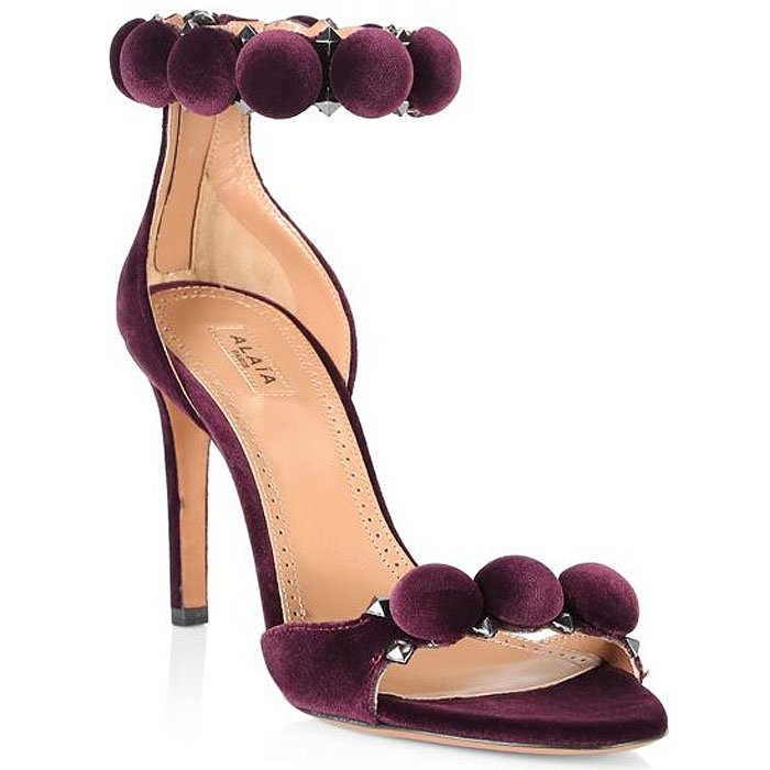 Alaia 'Bombe' Sandals in Violet Velour