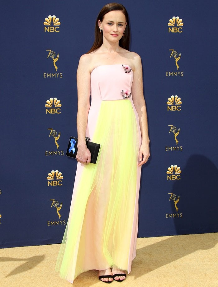 Alexis Bledelin a sugary pastel gown atthe 2018 Emmy Awards held at the Microsoft Theater in Los Angeles on September 17, 2018