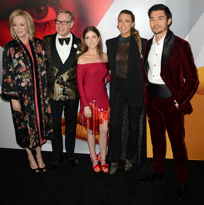 Jean Smart, Paul Feig, Anna Kendrick, Blake Lively, Henry Golding gather for a photo at the premiere of their movie 'A Simple Favor' at the Museum of Modern Art in New York City on September 10, 2018