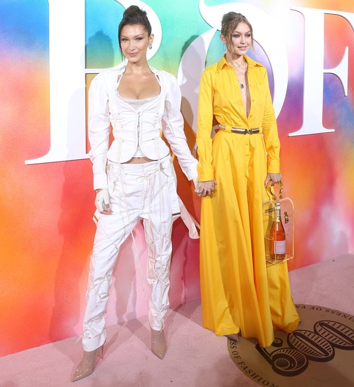 Bella and Gigi Hadid attending Business of Fashion's #BoF500 Gala Dinner during New York Fashion Week at 1 Hotel Brooklyn Bridge in Brooklyn, New York, on September 9, 2018