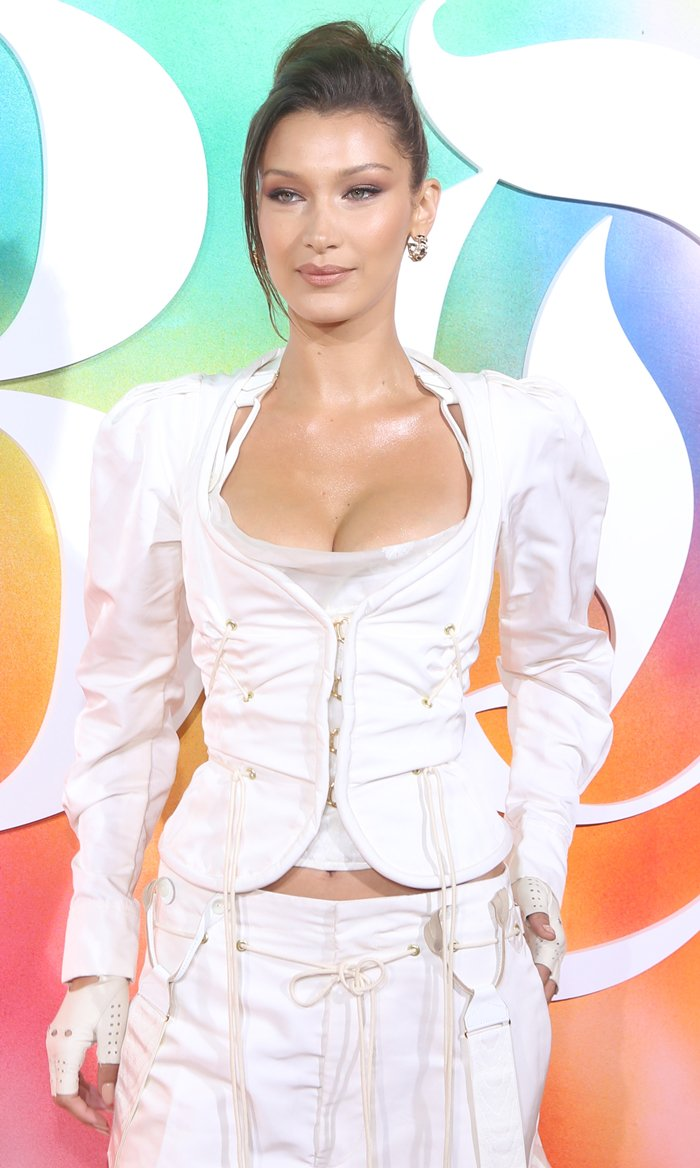 Bella Hadid in a white Andreas Kronthaler for Vivienne Westwood Spring 2019 outfit while attending Business of Fashion's #BoF500 Gala Dinner during New York Fashion Week at 1 Hotel Brooklyn Bridge in Brooklyn, New York, on September 9, 2018