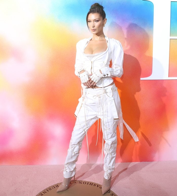 Bella Hadid rocking Le Silla's Gilda pumps redesigned with mesh stockings