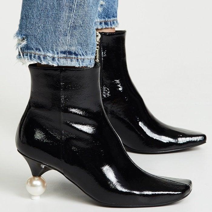 Black Patent Yuul Yie Short Pearl Booties