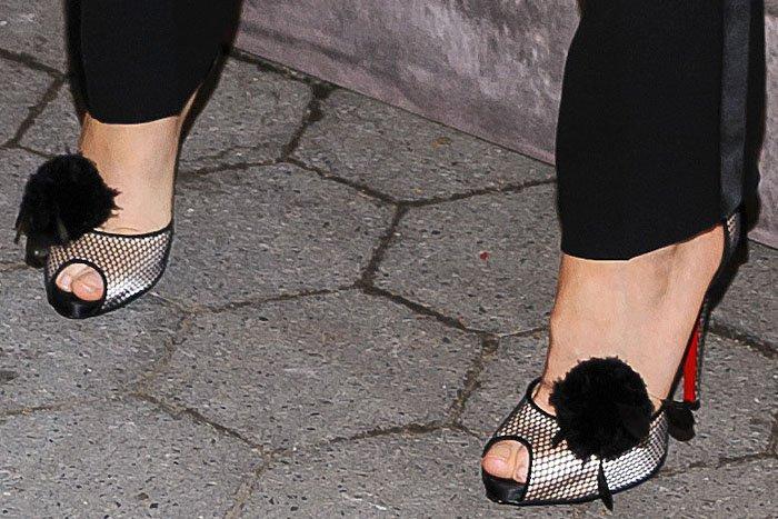 "Blake Lively's feet in Christian Louboutin ""Pluminette"" ankle-strap peep-toe sandals"