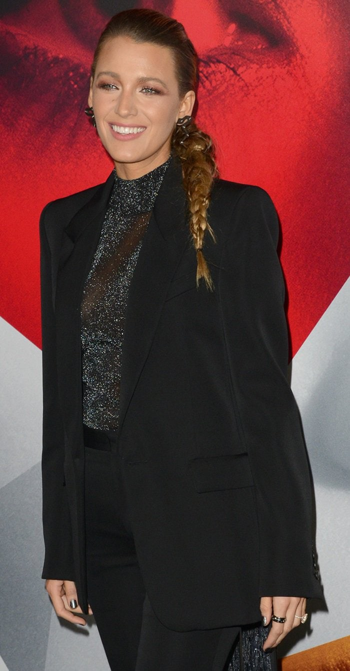 Blake Lively in a shimmery black turtleneck from the Givenchy Fall 2018 Couture Collection