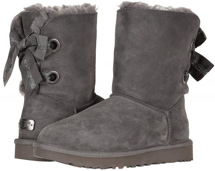 UGG Customizable Bailey Bow Short Boots in Charcoal