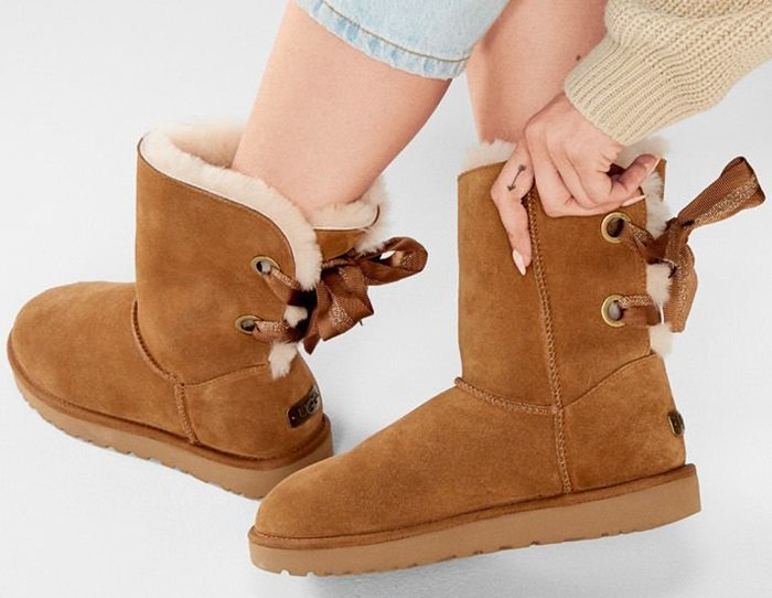 UGG Customizable Bailey Bow Short Boots in Chestnut