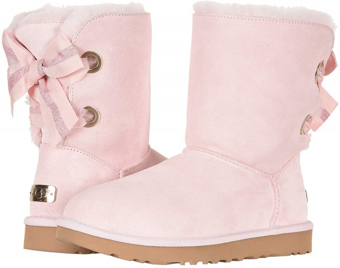 UGG Customizable Bailey Bow Short Boots in Seashell Pink