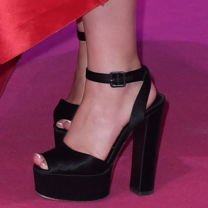 Camila Cabello shows off her feet in black platform Betty sandals from Giuseppe Zanotti