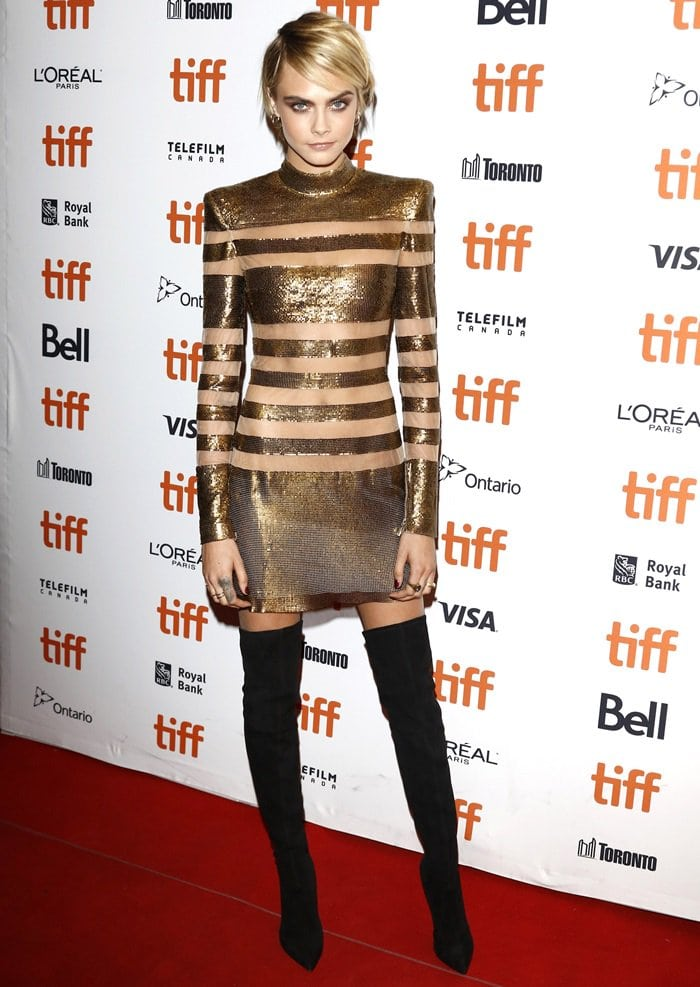 Cara Delevingne rocking black Casadei over-the-knee boots at the premiere of Her Smell during the 2018 Toronto International Film Festival at the Winter Garden Theater in Toronto, Canada, on September 9, 2018