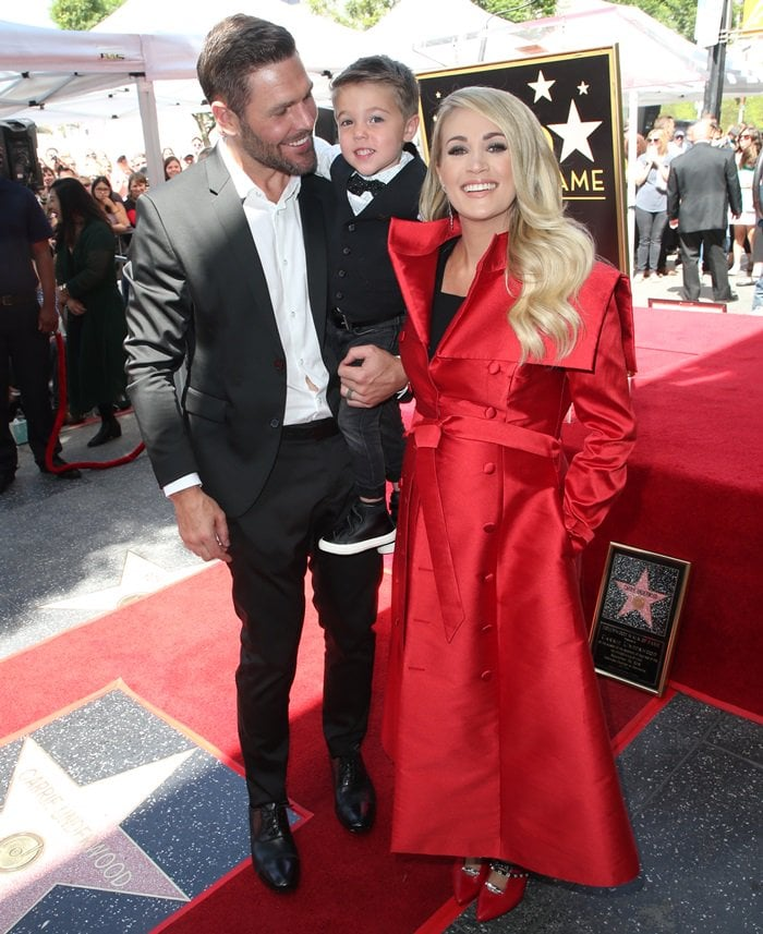 Carrie Underwood was joined by her husband Mike Fisher and their 3-year-old son, Isaiah