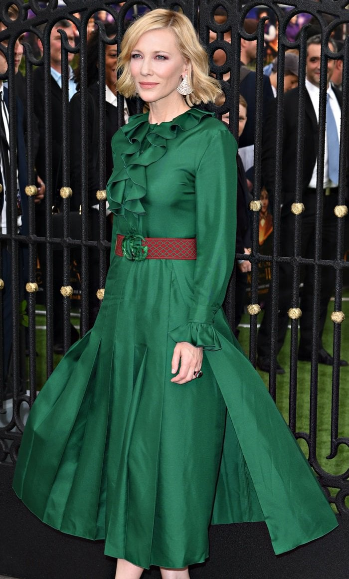 Cate Blanchett in a chic green dress from the Gucci Resort 2019 Collection