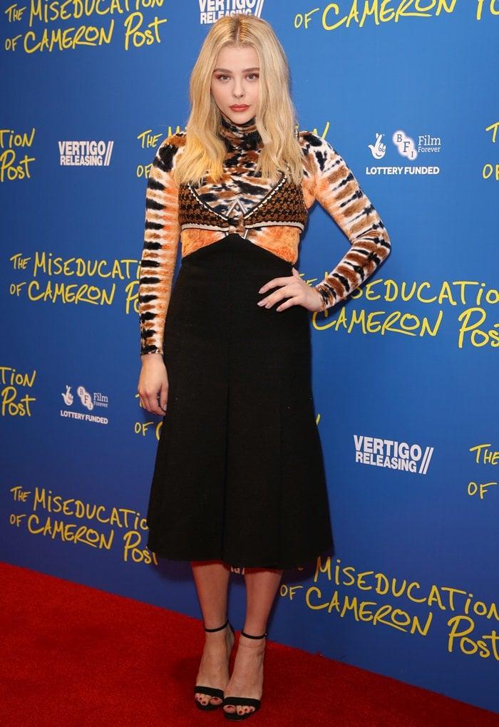 Chloe Moretz wearing an unflatteringProenza Schouler Fall 2018 dress