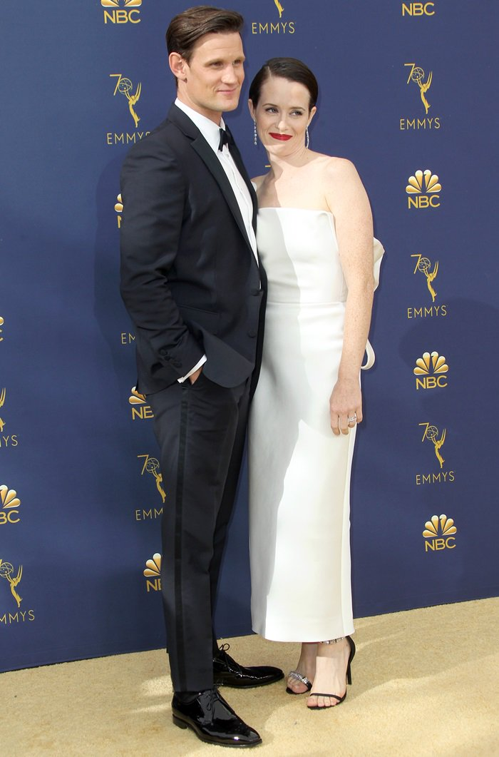 Matt Smith and Claire Foy at the 2018 Emmy Awards held at the Microsoft Theater in Los Angeles on September 17, 2018