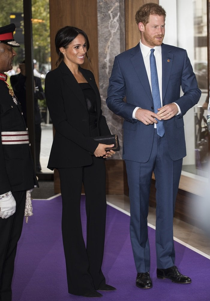Meghan Markle wearing straight-legged Serge trousers from Altuzarra