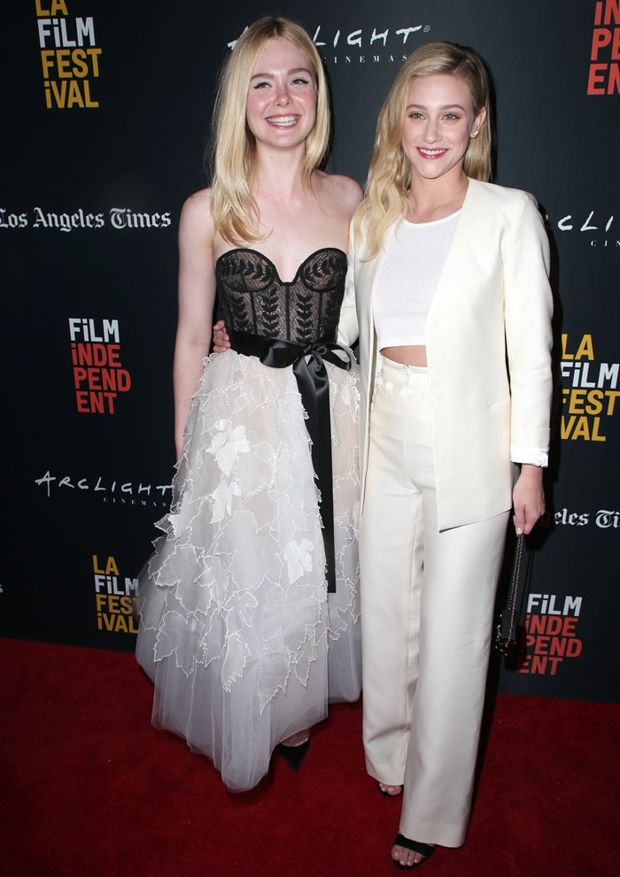 Elle Fanning and Lili Reinhart at the premiere of Galveston during the 2018 Los Angeles Film Fest in Culver City, California, on September 23, 2018