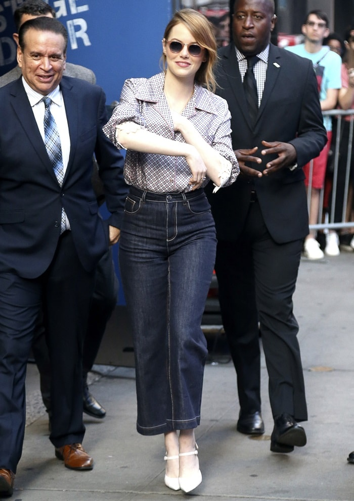 Emma Stone arrives for her morning show appearance on Good Morning America in New York City on September 19, 2018