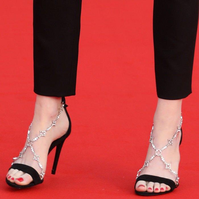 Emma Stone's perfect feet in crystal-embellished black 'Bird' platform sandals
