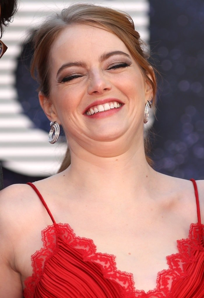 Emma Stone's statement earrings at the world premiere of her brand new Netflix series Maniac held at the Southbank Centre in London, England, on September 13, 2018