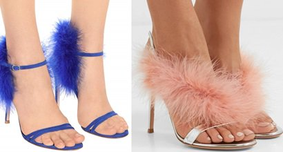 f3b41d50f Mirrored-Leather Slingback Sandals by Gianvito Rossi With Fluffy Feathers