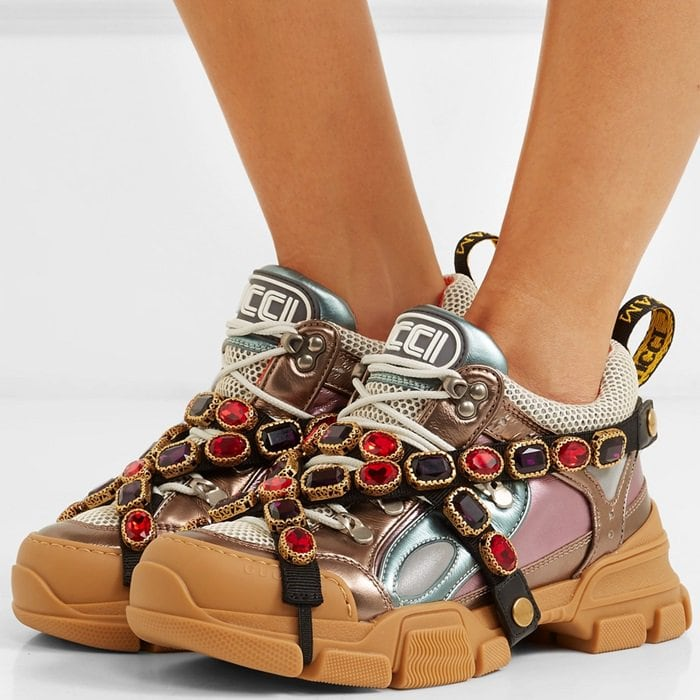 Gucci 'Flashtrek' Crystal-Wrapped Metallic-Leather Sneakers