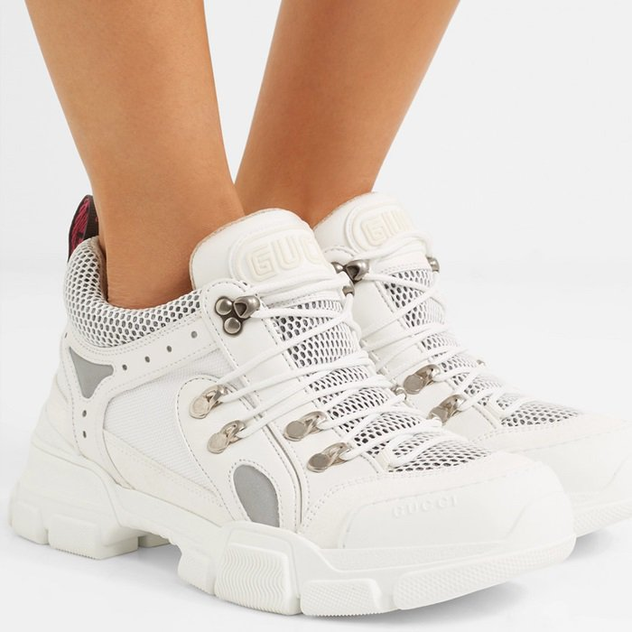 White Flashtrek Logo-Embossed Sneakers