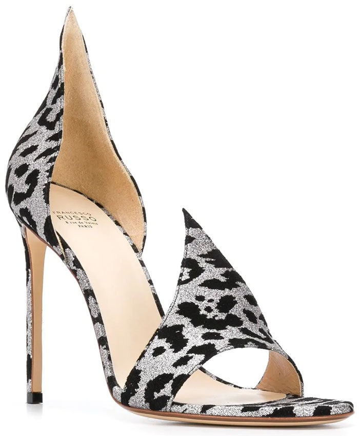 Francesco Russo 'Flame' sandals black-and-silver leopard