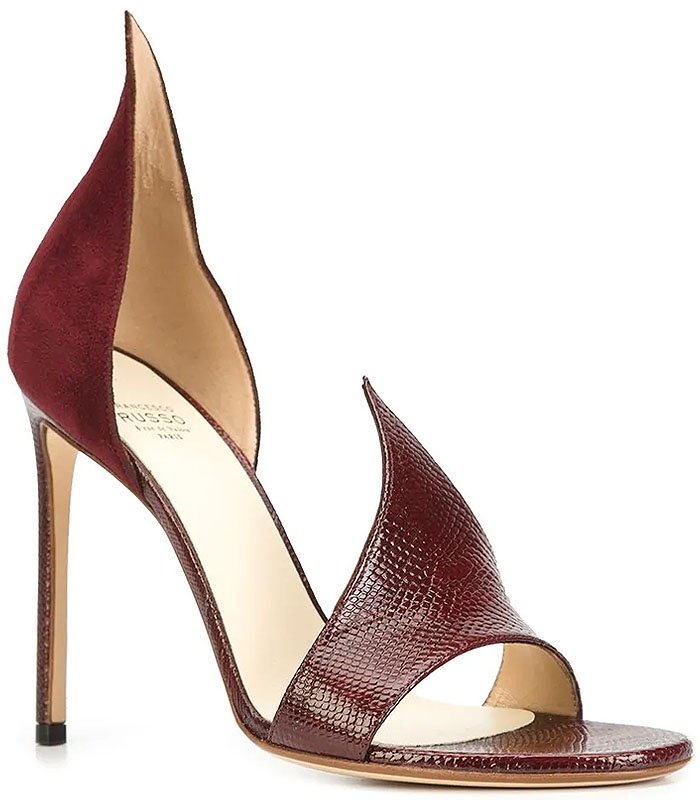 Francesco Russo 'Flame' sandals bordeaux red suede