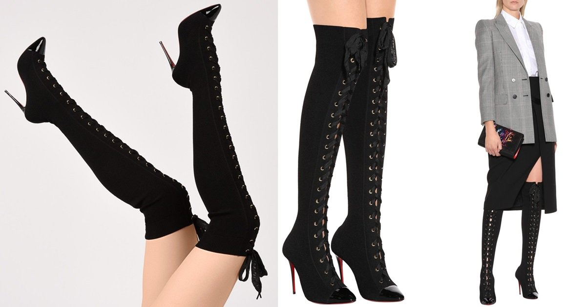 pretty nice e2616 a2a49 Frenchie Pointed-Toe Thigh Boots With Elegant Lace Ribbon Lacing
