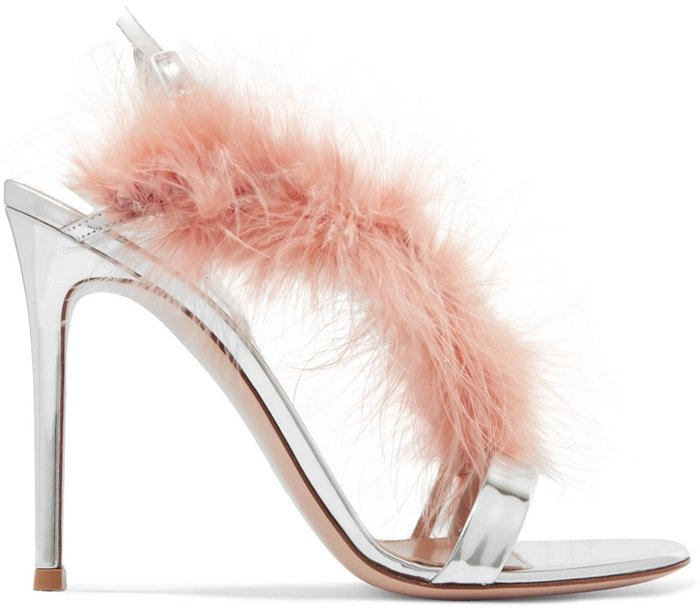 Feather-Trimmed Mirrored-Leather Slingback Sandals