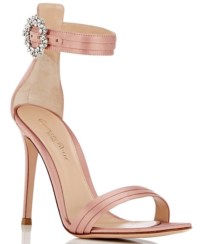 Crystal-Embellished Satin Ankle-Strap Sandals