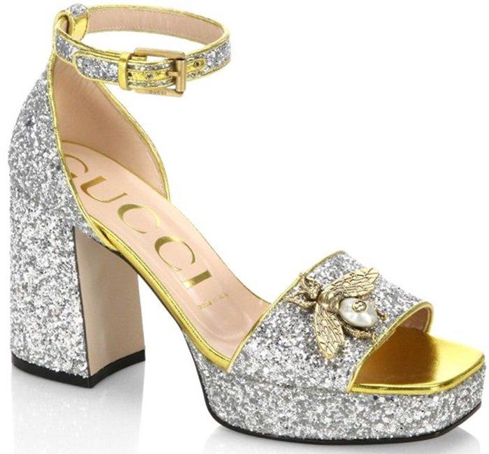 Gucci Soko Glitter Bee Applique Sandals