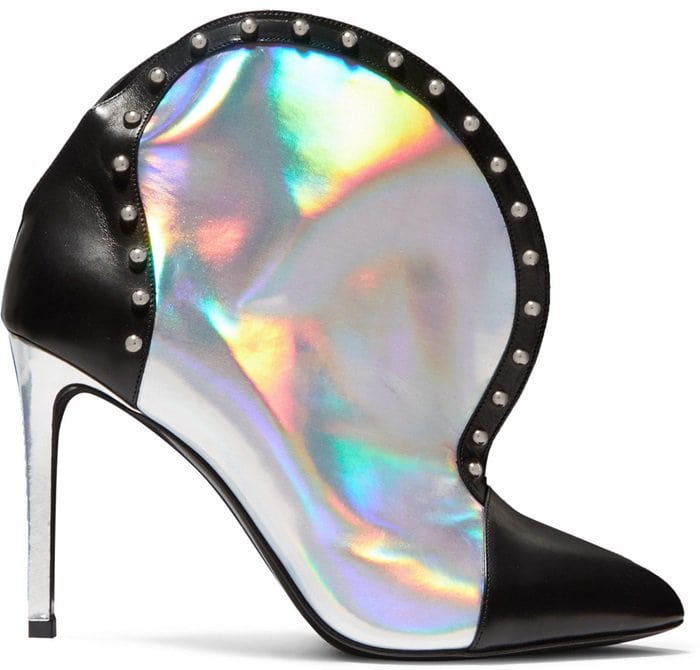 Iren Studded Smooth and Iridescent Leather Ankle Boots
