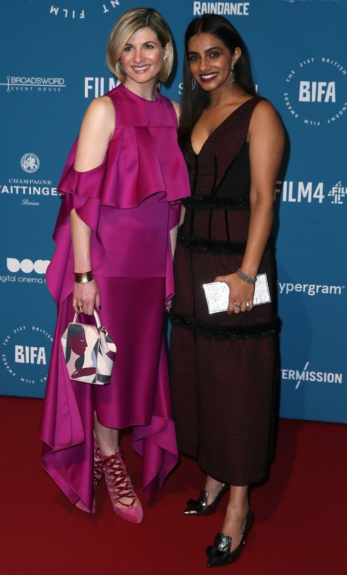 Jodie Whittaker and Mandip Gill at the 2018 British Independent Film Awards (aka the BIFAs) at Old Billingsgate in London, England, on December 2, 2018