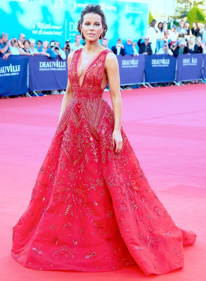 Kate Beckinsale in a red embellished gown from the Zuhair Murad Spring 2018 Couture Collection at the Deauville Talent Award during the 2018 Deauville American Film Festival in Deauville, France, on September 2, 2018