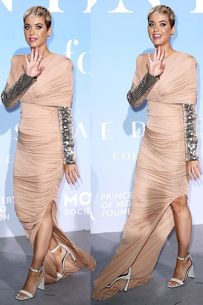 Katy Perry in a nude-tone Tom Ford Spring 2018 ruched gown sparkly silver sleeves and Via Spiga 'Faxon' sandals