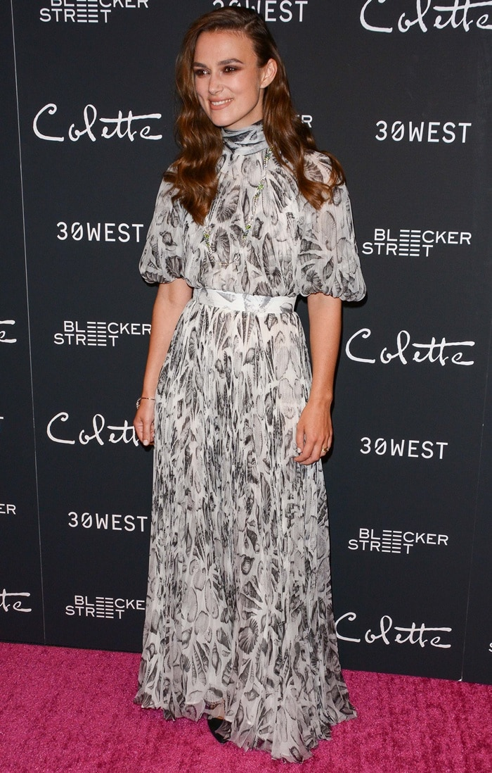 Keira Knightley in a glamorousAlexander McQueen dress at the Colette premiere in New York City on September 13, 2018