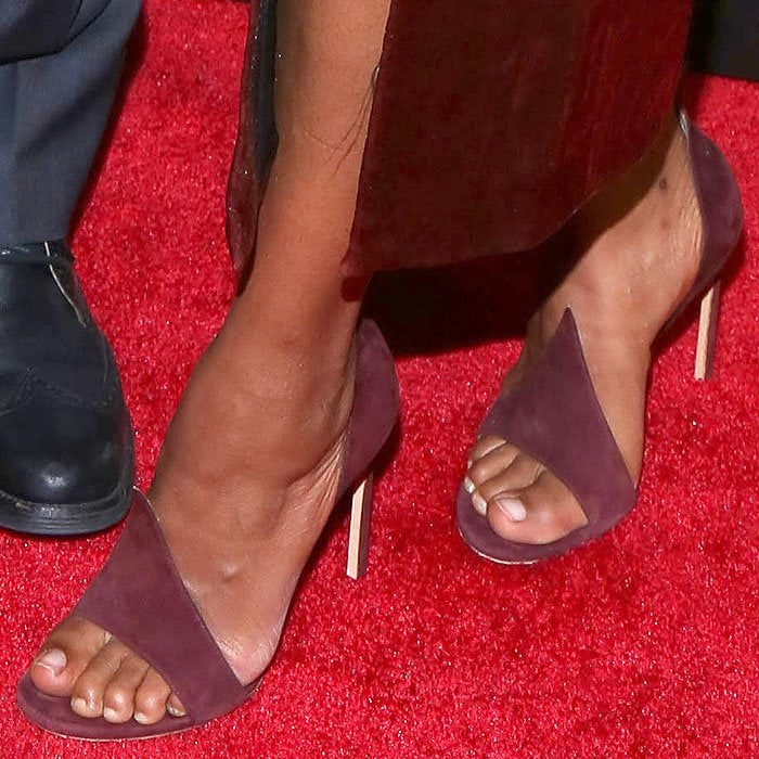 Kerry Washington shows off her feet in raspberry suede Flame sandals