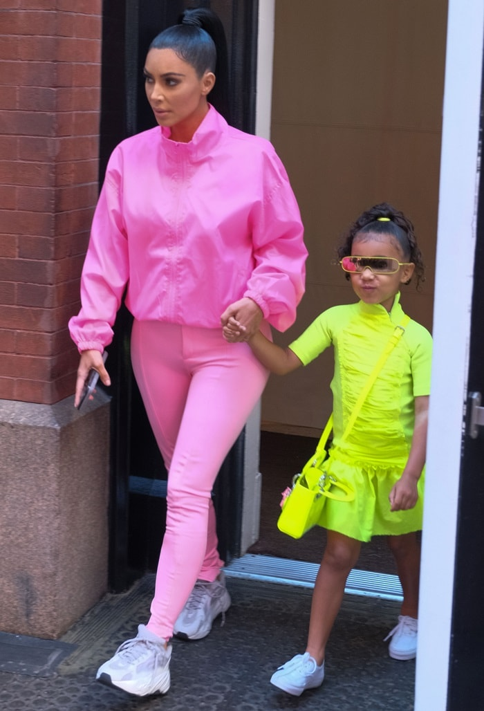 Kim Kardashian and North West leaving their hotel in New York City on September 29, 2018