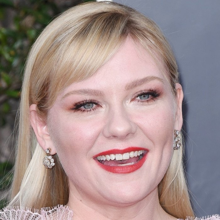Kirsten Dunst shows off her teeth at the 77th Annual Golden Globe Awards