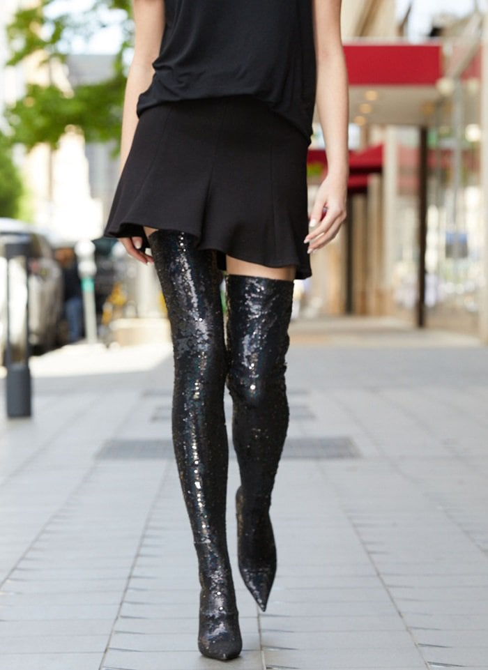 705df8f8707be Knife Sequined Over-the-Knee Boots for a Long