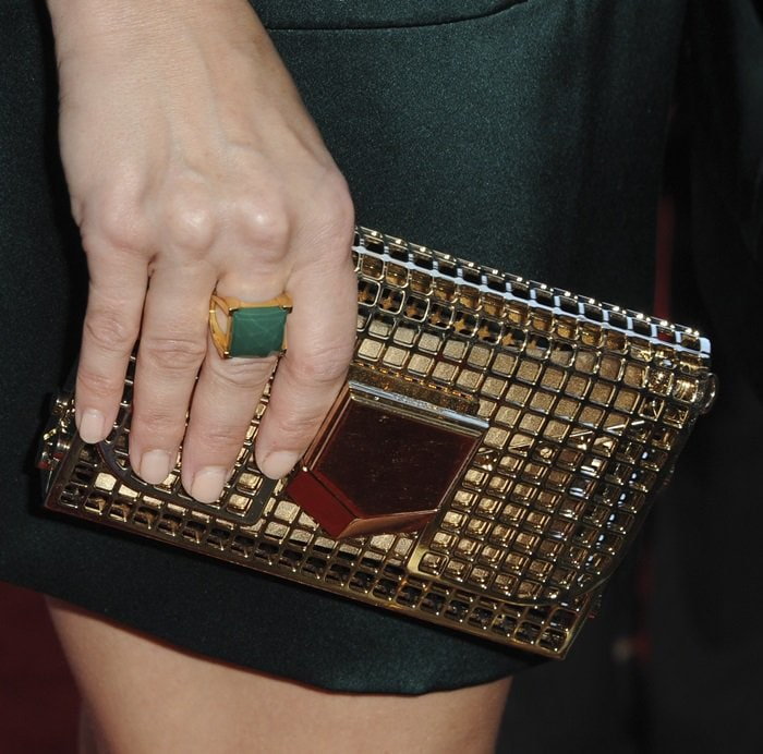 Kristen Bell toting Jimmy Choo's 'Lockett Minaudiere' clutch